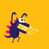 Dragon drôle de bande dessinée de vecteur Dinosaur de dessin animé Image libre de droits