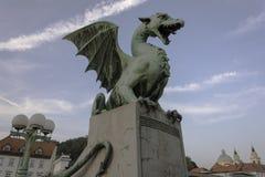 Dragon on the dragon bridge in Ljubljana Royalty Free Stock Images