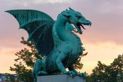 Dragon on the dragon bridge in Ljubljana Royalty Free Stock Photo