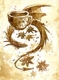 Dragon drawn by coffee. Dragon with a cup of coffee. drawn by coffee Stock Photos
