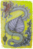 Dragon drawn with colour pencils on paper Royalty Free Stock Photos
