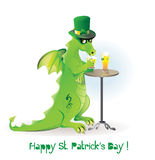 Dragon drinking beer on St. Patrick's day Royalty Free Stock Photography