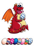 Dragon and Easter Eggs. Red vector dragon excited about easter egg illustration with labeled and grouped elements and eggs on layers. Hidden detail behind egg Royalty Free Stock Images
