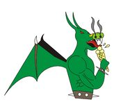 Dragon eats icecream. A fireblowing dragon eats icecream to cool himself off Stock Photos