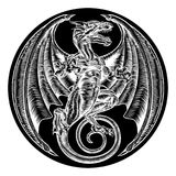Dragon Circle Design. A dragon in an engraved etching woodcut style in circle shape Stock Photos