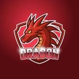 Dragon Esport Logo Template rouge Illustration Stock