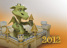 Dragon et château Photo libre de droits