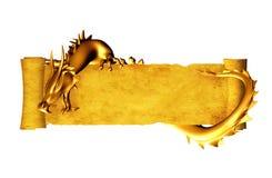 Dragon et défilement de vieux parchemin Images stock