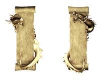 Dragon et défilement de vieux parchemin illustration de vecteur