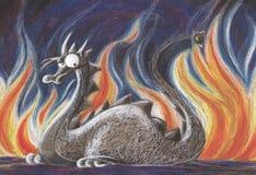 Dragon et feu images stock