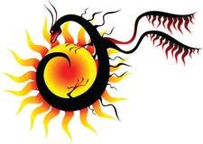 Dragon et le soleil illustration de vecteur