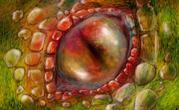 Dragon eye. Close up of a red and evil dragon eye surrounded with lizard skin scales. Digital painting stock illustration