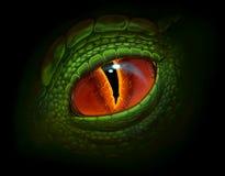 Dragon eye. Green dragon`s eye digital realistic painting Stock Photo