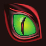 Dragon eye - original realistic illustration. Realistic illustration of green dragon eye Vector Illustration