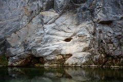 Dragon eye stone in Geibikei Gorge - Ichinoseki, Iwate, Japan. Dragon eye stone in Geibikei Gorge in Ichinoseki, Iwate, Japan royalty free stock image