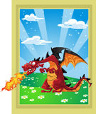 Dragon on the fairytale landscape Royalty Free Stock Photography
