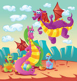 Dragon family scene Stock Images
