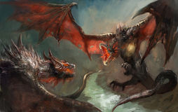 Dragon fight. Two dragoins having a duel Stock Photography