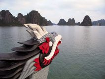 Dragon figurehead on Halong Bay. Vietnam Royalty Free Stock Photography