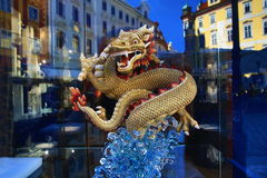 The Dragon figurine, historic buildings, Prague, Czech Republic Royalty Free Stock Images