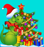 Dragon with fir tree and gift Stock Photos