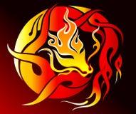 Dragon fire. Illustration of tribal dragon tattoo Royalty Free Stock Photos