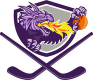 Dragon Fire Ball Hockey Stick Crest Retro. Illustration of a purple dragon head breathing fire clutching an ornage ball with crossed hockey stick set inside stock illustration