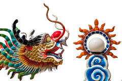 Dragon and fire ball. Dragon is sign of chinese culture Stock Images