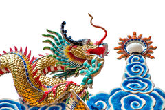 Dragon and fire ball. Dragon is sign of chinese culture Royalty Free Stock Photos