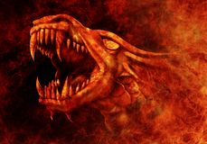 Dragon - fire. Fire Dragon comes out of the fire royalty free illustration