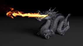 Dragon fire. 3d rendered illustration of dragon stature with fire Royalty Free Illustration
