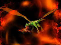 Dragon in the fire. Fantasy fairy tale 3d illustration Stock Photography