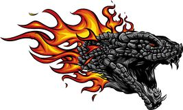 A head of the Dragon in fire with flames. Dragon in fire in flames vector illustration