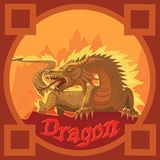 Dragon fire force of the sun`s energy. The dragon of fire is the power of the sun`s energy that burns all the bad information of dark energy and expels from its stock illustration
