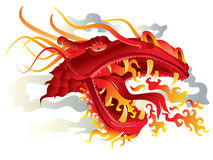 Dragon fire head. Vector illustration, red dragon head with fire Stock Image