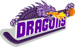 Dragon Fire Hockey Stick Basketball Retro. Illustration of a purple dragon head breathing fire clutching basketball on hockey stick and banner with the word Stock Photography