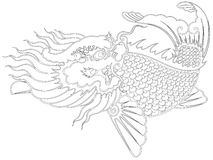 Dragon fish chinese style. Painting from illustrator, picture for coloring Royalty Free Stock Image