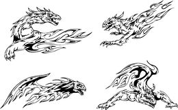 Dragon flame tattoos Stock Images