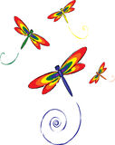 Dragon flies. Illustration of four dragon flies flying Royalty Free Stock Photo