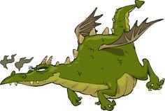 Dragon in flight. Green funny dragon in flight vector stock illustration