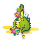 Dragon and flowers. Winged green dragon and flowers. vector illustration Stock Photos