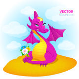 Dragon with flowers in desert. Vector illustration with dragon with flowers in desert stock illustration