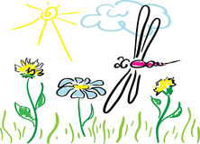 Dragon-fly. Hand drawing image of Dragon-fly and flowers Royalty Free Stock Photo