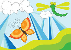 Dragon fly and butterfly over blue sky. Illustration of abstract dragon fly and butterfly over blue sky, cartoon Royalty Free Stock Image