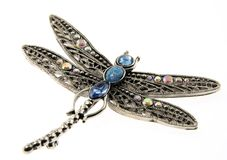 Dragon-fly pendant jewelry isolated on white Stock Photo