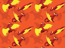Dragon Flying Background Seamless Wallpaper mignon illustration stock