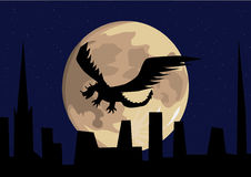 Dragon flying in front of the full moon Stock Image