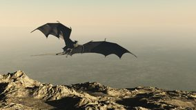 Dragon Flying over a Mountain Cliff stock illustration