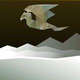 Dragon. Flying over the mountains. Vector illustration Stock Photo