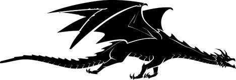 Dragon Flying Side View. Isolated silhouette of mythical beast black fantasy dragon Royalty Free Stock Image